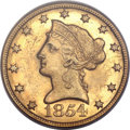 Liberty Eagles, 1854-O $10 Large Date MS60 PCGS. Variety 2....