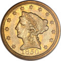 Liberty Quarter Eagles, 1850-D $2 1/2 AU53 PCGS. Variety 14-N (previously unlisted)....