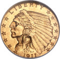 Indian Quarter Eagles, 1911-D $2 1/2 MS65 NGC....