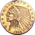 Proof Indian Quarter Eagles, 1914 $2 1/2 PR64 NGC....