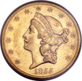 Liberty Double Eagles, 1855-S $20 AU53 PCGS. CAC. Variety 14B....