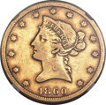 Liberty Eagles, 1860-S $10 -- Reverse Damage -- NGC Details. Fine....