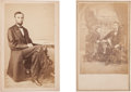 Photography:CDVs, Rare Carte-De-Visite of Lincoln By Gardner Accompanied By Carte-De Visite Of Lincoln And Tad.... (Total: 2 Items)