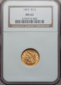 Liberty Quarter Eagles: , 1893 $2 1/2 MS62 NGC. NGC Census: (255/374). PCGS Population(178/362). Mintage: 30,000. Numismedia Wsl. Price for problem ...