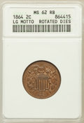 Two Cent Pieces: , 1864 2C Large Motto MS62 Red and Brown ANACS. NGC Census:(25/1365). PCGS Population (71/1823). Mintage: 19,847,500.Numism...