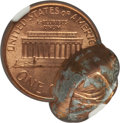 Errors, 1988 1C Lincoln Cent -- Double Struck, Flipover 65% Off Center --MS65 Red NGC....