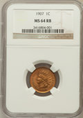 Indian Cents: , 1907 1C MS64 Red and Brown NGC. NGC Census: (766/388). PCGSPopulation (545/116). Mintage: 108,138,616. Numismedia Wsl. Pri...