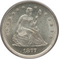 Seated Quarters: , 1877-S 25C MS64 PCGS. PCGS Population (88/42). NGC Census: (85/46).Mintage: 8,996,000. Numismedia Wsl. Price for problem f...