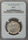 Commemorative Silver: , 1938-D 50C Oregon MS67 NGC. NGC Census: (243/22). PCGS Population(204/34). Mintage: 6,005. Numismedia Wsl. Price for probl...