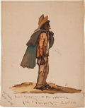 "Military & Patriotic:Civil War, Signed And Dated Watercolor By Master Titled ""Southern Gentleman On The Skeedaddle From Prospect""..."