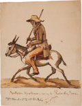 "Military & Patriotic:Civil War, Master Signed And Dated Watercolor of ""Southern Gentleman coming to Pulasky, Tenn.""..."