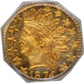 California Fractional Gold: , 1874 25C Indian Octagonal 25 Cents, BG-795, R.3, MS65 PCGS. PCGSPopulation (20/2). NGC Census: (2/0). (#10622)...