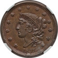 Large Cents: , 1838 1C MS64 Brown NGC. NGC Census: (110/103). PCGS Population(90/43). Mintage: 6,370,200. Numismedia Wsl. Price for probl...