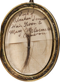 Extremely Rare Lock of Abraham Lincoln's Hair Housed in a Beautifully Engraved Gold Locket From the Family of a Lincoln...