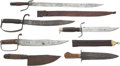 Edged Weapons:Knives, Group Of Six Large Knives Being Primarily 20th CenturyReproductions of Earlier Style Knives.... (Total: 6 Items)