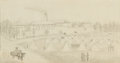 "Military & Patriotic:Civil War, Charles F. Allgower, Untitled, graphite drawing on paper and mounted on board, c. 1862, 7.5"" x 3.75"" (sight size..."