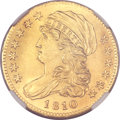 Early Half Eagles, 1810 $5 Small Date, Tall 5 MS64 NGC. BD-1, High R.3. ...