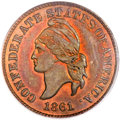 Confederate States of America, 1861 Confederate States of America Cent PR65 Red and Brown PCGS.CAC. Copper 1874 Haseltine Restrike, Breen-8008, R.5....