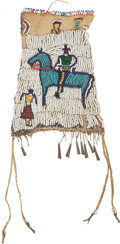 Military & Patriotic:Indian Wars, Old Plains Indian Medicine Pouch With Figural Decoration...