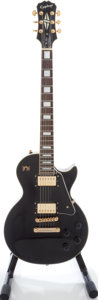 Musical Instruments:Acoustic Guitars, 2006 Epiphone Les Paul Custom Black Solid Body Electric Guitar,Serial # EE061003980....