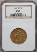 Liberty Eagles, 1842-O $10 XF45 NGC. Variety 2....
