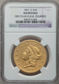 Liberty Double Eagles, 1851-O $20 -- Obverse Planchet Flaw, Cleaned -- NGC Details. AU. Variety 4....