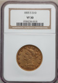 Liberty Eagles, 1855-S $10 VF30 NGC....