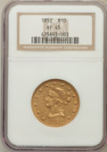 Liberty Eagles: , 1852 $10 XF45 NGC. NGC Census: (83/456). PCGS Population (75/125).Mintage: 263,106. Numismedia Wsl. Price for problem free...