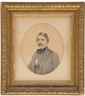 """Military & Patriotic:Civil War, Painting of a Confederate Naval Officer, colored gouache over a photographic image, 9.25"""" x 11.5"""" oval (sight size), matted ..."""