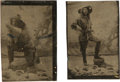 Photography:Tintypes, Two Tintypes: Two Spectacular Images of a Frontiersman, Circa 1880-1890....