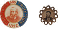 Political:Ferrotypes / Photo Badges (pre-1896), Ulysses S. Grant and Benjamin Harrison: Pair of Campaign Badges....(Total: 2 Items)
