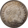 Early Dollars: , 1800 $1 AU58 NGC. B-16, BB-187, R.2. The 1 in the date nearlygrazes the curl, and the 8 is l...