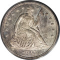 Seated Dollars: , 1847 $1 MS63 PCGS. The 1847 is relatively available in lowergrades, but quite rare in the hi...