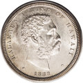 Coins of Hawaii: , 1883 50C Hawaii Half Dollar MS64 PCGS. A silver-gold obversecomplements the champagne-pink reverse of this boldly struck p...