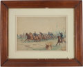 """Military & Patriotic:Civil War, Edwin Forbes, """"Artillery Charge"""", c. 1890, watercolor on board, 28"""" x 21"""" (sight size), matted and framed to an ..."""