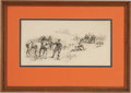 "Military & Patriotic:Civil War, Walton Taber, ""Buford's Cavalry"", pen, ink, and graphite, 16' x 8"" (sight size), matted and framed to an overall size of 23""..."