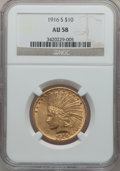 Indian Eagles, 1916-S $10 AU58 NGC....