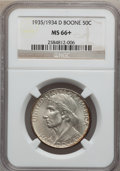 Commemorative Silver: , 1935/34-D 50C Boone MS66+ NGC. NGC Census: (119/57). PCGSPopulation (170/59). Mintage: 2,003. Numismedia Wsl. Price forpr...