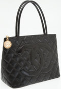 Luxury Accessories:Bags, Chanel Black Caviar Leather Medallion Tote Bag with Gold Hardware....