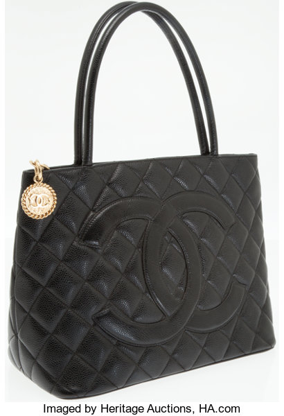 62019ebf5310 Chanel Black Caviar Leather Medallion Tote Bag with Gold