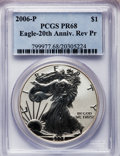 Modern Bullion Coins, 2006-P $1 Reverse Proof Silver Eagle, 20th Anniversary PR68 PCGS.PCGS Population (753/14126). NGC Census: (401/50021). Nu...