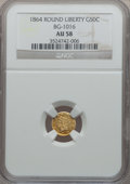 California Fractional Gold: , 1864 50C Liberty Round 50 Cents, BG-1016, R.5, AU58 NGC. NGCCensus: (3/5). PCGS Population (12/40). (#10845)...