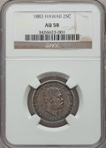 Coins of Hawaii: , 1883 25C Hawaii Quarter AU58 NGC. NGC Census: (85/839). PCGSPopulation (116/1106). Mintage: 500,000. (#10987)...