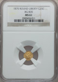 California Fractional Gold: , 1870 25C Liberty Round 25 Cents, BG-835, R.3, MS61 NGC. NGC Census:(10/13). PCGS Population (29/90). (#10696)...