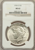 Peace Dollars: , 1934-D $1 MS62 NGC. NGC Census: (820/2125). PCGS Population(989/3156). Mintage: 1,569,500. Numismedia Wsl. Price for probl...