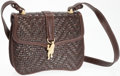 Luxury Accessories:Bags, Kieselstein Cord Brown Woven Leather Shoulder Bag with Gold FrogCharm. ...