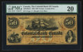 Canadian Currency: , Toronto, CW- The Colonial Bank of Canada $50 Aug. 4, 1859 Ch #130-10-02-16. ...