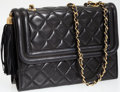 Luxury Accessories:Bags, Chanel Black Lambskin Leather Shoulder Bag with Gold CC Tassel. ...