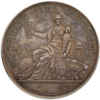 The Copley Medal of the Royal Society, a silver specimen, 1731, by J S Tanner