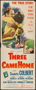 "Movie Posters:War, Three Came Home (20th Century Fox, 1949). Insert (14"" X 36""). War....."